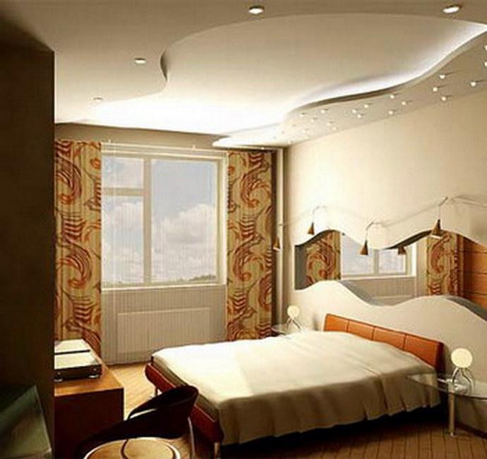 Дизайн спальной комнаты с подвесным
