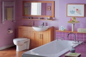 Отделка ванной комнаты в фиолетовом цвете