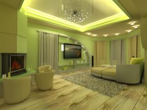 Оформление гостиной комнаты в салатном цвете