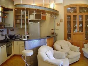 Вариант кухни студии с барной стойкой