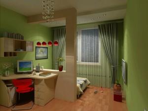 Вариант зонирования рабочего места в спальне