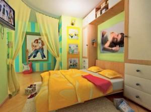 Вариант зонирования спального места в гостиной