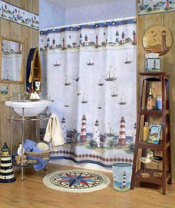 Пример морского стиля в декоре ванной