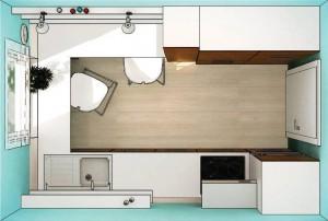 Вариант U-образной планировки небольшой кухни