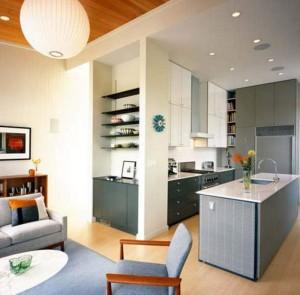 Вариант кухни гостиной в маленькой квартире