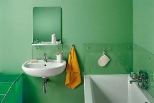 Вариант ванной комнаты в салатном цвете