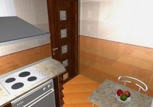 Вариант двух цветов плитки на стенах кухни