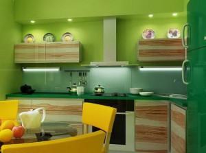 Вариант салатного цвета стен кухни