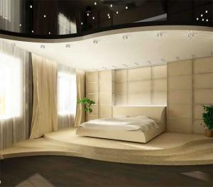 Вариант дизайна спальни с подиумом