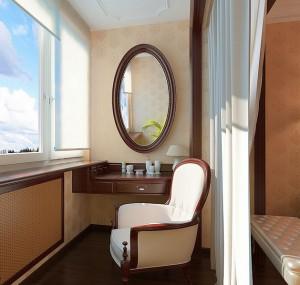 Вариант дизайна лоджии с туалетным столиком