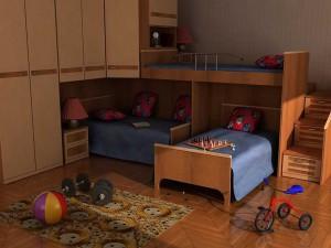 Вариант оформления детской комнаты для троих детей
