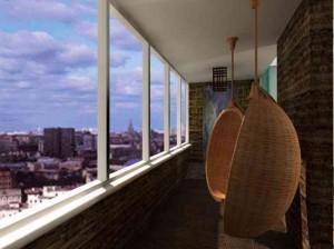 Пример с креслами качалками в дизайне балкона