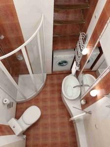 Пример оформления  маленькой ванной комнаты