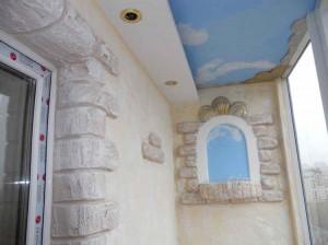 Оригинальный вид натяжных потолков на балконе фото