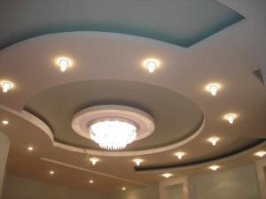 Потолок в гостиной из гипсокартона фото