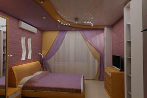 Вариант спальни в сиреневых тонах фото