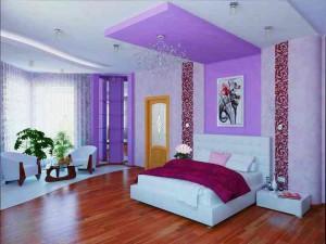 Уникальная спальня в сиреневых тонах фото