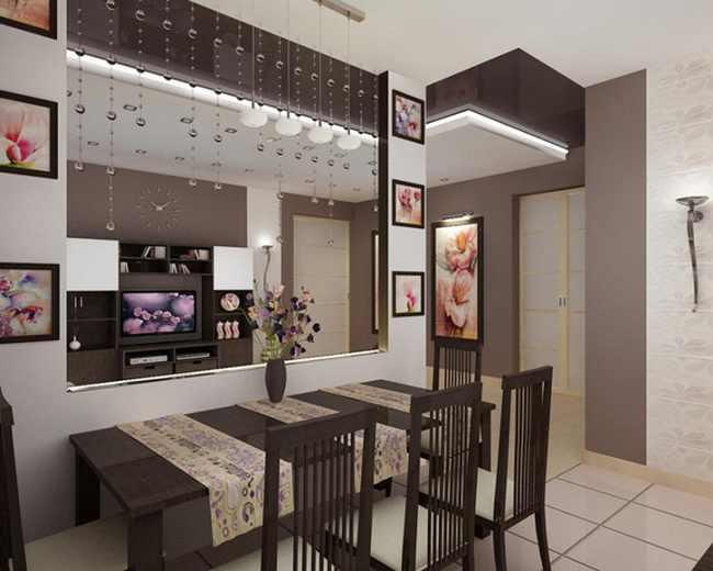 Дизайн перегородки между кухней и гостиной фото