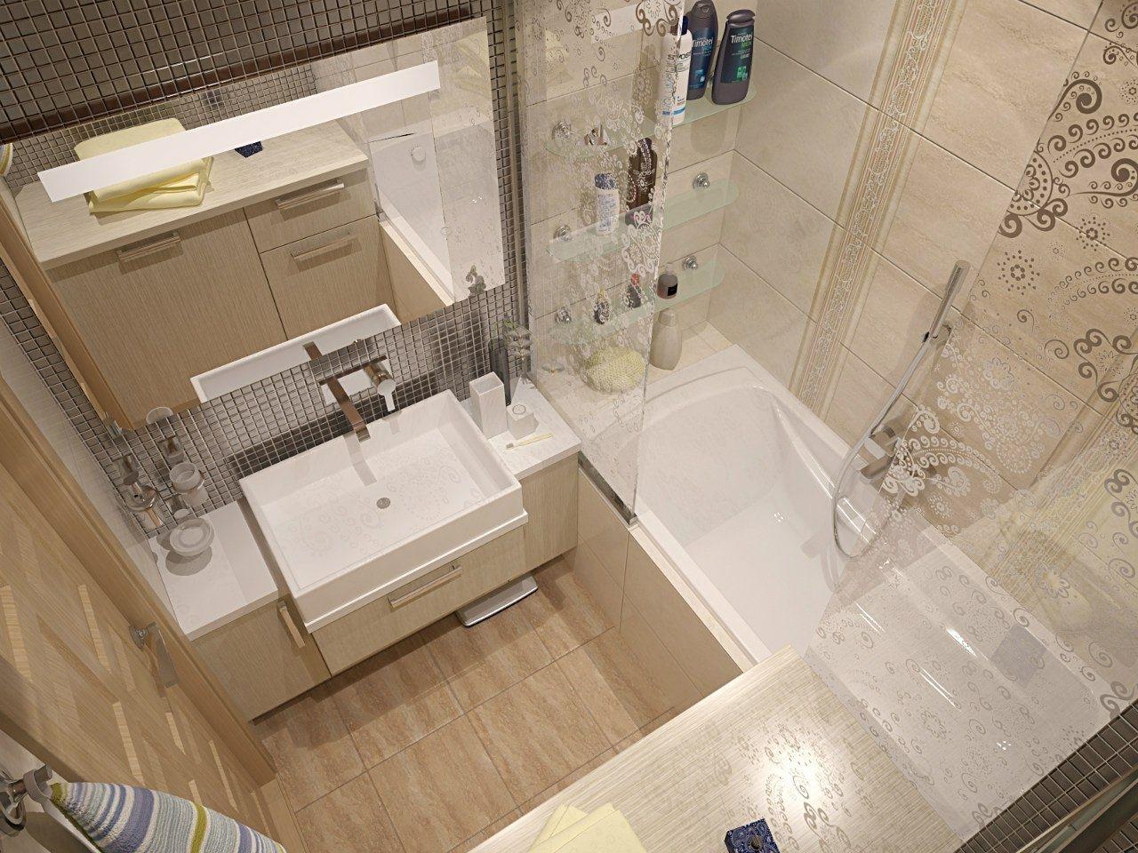 фото маленькой ванной в пастельных тонах