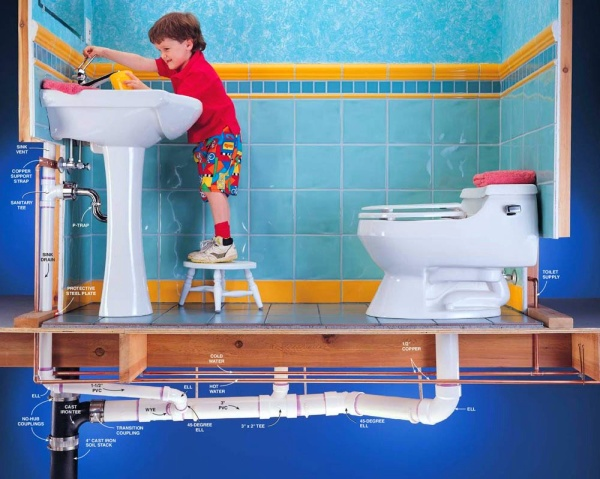 montazh-kanalizacii-v-kvartire-fon Установка сантехники своими руками: планирование и способ монтажа