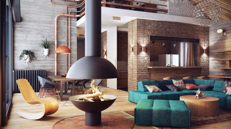 dizajn-kvartiry-v-stile-loft-2018-14 Меняем интерьер гостиной: что будет актуально в 2018 году